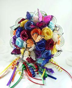 Rainbow Wedding Bouquet Origami Bridal Bouquet by TheWhiteBouquet
