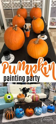 How to host a PUMPKIN PAINTING PARTY! : So many fun ideas! Have a pumpkin painting party with your friends, lots of tips, recipes, and more! Pumpkin Painting Party, Halloween Painting, Halloween Crafts For Kids, Halloween Pumpkins, Holiday Crafts, Kid Halloween, Halloween 2016, Holiday Ideas, Cute Pumpkin