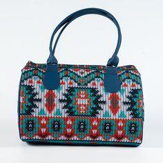 Knitted Print Handbag for Ladies, Women Designer Handbag, Top Handle Ladies Bag, Barrel Bag for Women, Cute Fashion Bag, Fabric Bag, 5114
