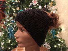 Black ponytail hat ski hat ponytail beanie Hand Crochet