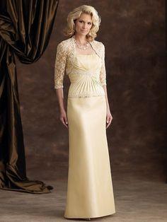 Sheath/Column Strapless Sleeveless Lace Floor-length Elastic Woven Satin Mother of the Bride Dresses