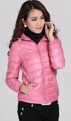 Hooded slim down Jacket pink nice