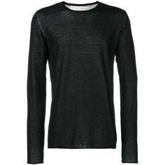 Isabel Benenato crew neck jumper (£375) ❤ liked on Polyvore featuring men's fashion, men's clothing, men's sweaters, black, mens crew neck sweater, mens crewneck sweaters, mens cotton crew neck sweaters and mens cotton sweaters