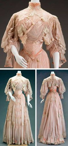 """Girolamo Giuseffi, St. Louis, MO, ca. 1906. Silk and silk velvet. Indianapolis Museum of Art: """"The appliquéd and cutout stylized flowers—either peonies or plum blossoms—are drawn in an Art Nouveau style, which was prevalent from 1890 to 1914. The dramatic sleeve silhouette along with the great amount of ruching and hand pin tucking throughout the bodice and skirt make this a very expensive garment, perhaps part of a trousseau."""""""