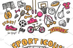 Sport symbols doodle sketch icons of hockey players helmet gymnastics rings and boxer gloves abstract vector illustration. Archive contains JPG and EPS files. Sketch Icon, Sketches, Doodle Sketch, Doodle Art, Sports Equipment, Photography Equipment, Doodles, Photography Tutorials, Soccer Ball