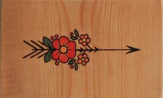 Arrow with Flowers Old School Pyrography by Partcult on Etsy