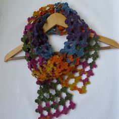 Hand made scarf crochet scarf soft colors women by fyboutique, $34.99