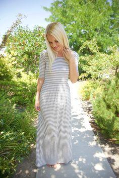 20fff4336669 Soft gray   white striped dress