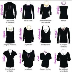 Necklaces to wear with each top. Tips to keep in mind.