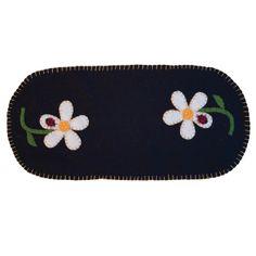 "Daisy with Ladybug Mat - Hand stitched all wool ladybug and daisy mat. Size 8"" x 18"" long."