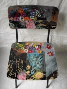 Painting on old wood chairs