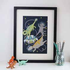 Space Dinosaurs Art Print, Kids Bedroom Wall Art, Childrens Dinosaur Print, Unisex Artwork, Space Themed Illustration, A4 8 x 10 Print