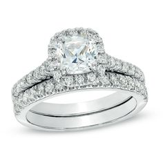 1-3/8 CT. T.W. Certified Cushion-Cut Diamond Frame Bridal Set in Platinum
