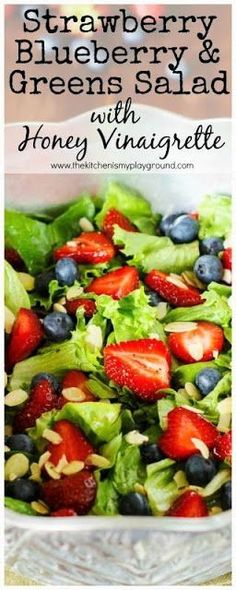Strawberry, Blueberry & Greens Salad with Honey Vinaigrette ~ as tasty as it is beautiful!thekitchenism… Strawberry, Blueberry & Greens Salad with Honey Vinaigrette ~ as tasty as it is beautiful! Lettuce Salad Recipes, Green Salad Recipes, Summer Salad Recipes, Healthy Salad Recipes, Strawberry Salad Recipes, Vinaigrette Dressing, Strawberry Vinaigrette, Honey Recipes, Gastronomia