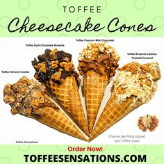 Waffle Cones filled with cheesecake and topped with toffee treats Toffee Cheesecake, Cheesecake Desserts, Mini Desserts, No Bake Desserts, Just Desserts, Delicious Desserts, Awesome Desserts, Waffle Cone Recipe, Waffle Cones