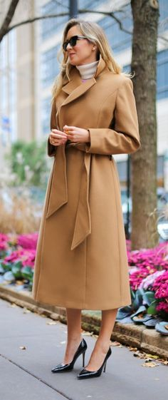 rose pink boucle textured flare dress + camel maxi coat     http://www.theclassycubicle.com/2014/10/caramel-rose.html