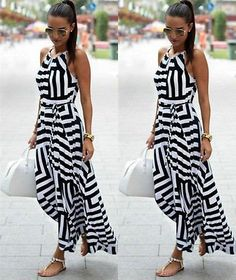 Comfortable and stylish, this striped maxi beach dress is perfect for  summer!