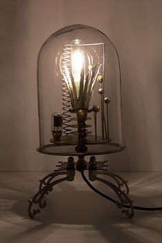 "anthropology Steampunk lamp ""The Kerplunk Bell Jar Lamp""... pretty sure this would be easy enough to make."