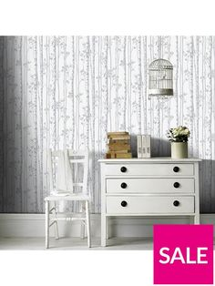 Graham & Brown Linden Pearl And Grey Wallpaper | very.co.uk