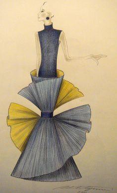 Roberto Capucci - Haute Couture - Robe de Soirée 'Sculpture' - Esquisses et Croquis
