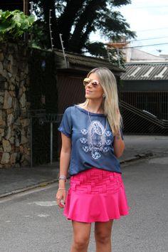 T-shirt Jeans Guadalupe e Saia tiras, combinação perfeita de cores e modelagens