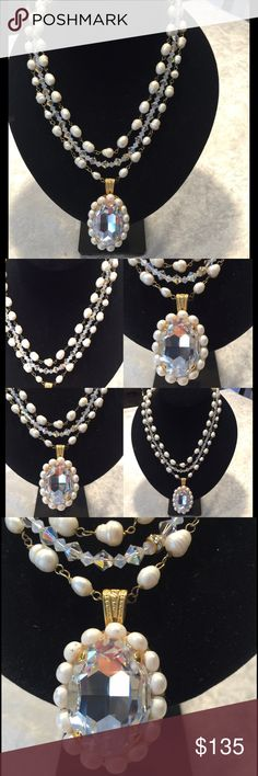 3 strand freshwater pearl and Swarovski necklace Beautiful and elegant, can be worn with jeans or a dress. Design and handmade by a local designer. STUNNING. Originally $246.00 Jewelry Necklaces