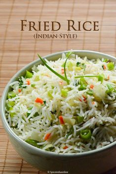Indian style Fried Rice More, Rice Recipes Veg Recipes, Indian Food Recipes, Asian Recipes, Vegetarian Recipes, Chicken Recipes, Cooking Recipes, Simple Rice Recipes, Yellow Rice Recipes, Indo Chinese Recipes