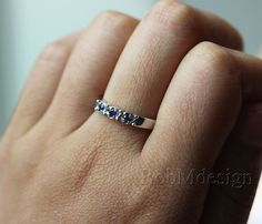 Real VS Blue Sapphire Ring 14k White Gold/14K Yellow por RobMdesign