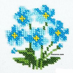 cam-boncuklarla-unut-beni-cicegi-isleme with glass-bead-forget-me-blossom-tillage Small Cross Stitch, Cross Stitch Borders, Cross Stitch Flowers, Cross Stitch Designs, Cross Stitching, Cross Stitch Embroidery, Embroidery Patterns, Hand Embroidery, Cross Stitch Patterns