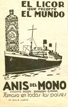 Anís del mono Retro Poster, Poster Ads, Retro Ads, Typography Poster, Vintage Advertisements, Vintage Ads, Vintage Images, Vintage Posters, Old Ads