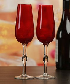 Look at this #zulilyfind! Red Champagne Flute - Set of Two #zulilyfinds