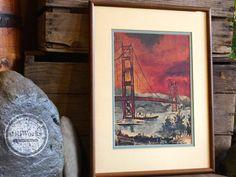 "Vintage 1960's San Francisco Framed Art Print ""Golden Gate Bridge"" Artist G. Soubeyran"