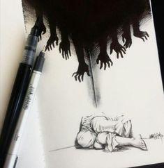 Creepy Drawings, Dark Art Drawings, Creepy Art, Pencil Art Drawings, Art Drawings Sketches, Cool Drawings, Creepy Sketches, Abstract Sketches, Animal Drawings