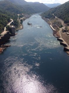 The view from on top the kariba dam wall
