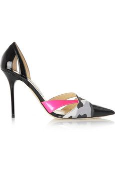 Jimmy Choo Marcine printed suede-trimmed patent-leather pumps   NET-A-PORTER