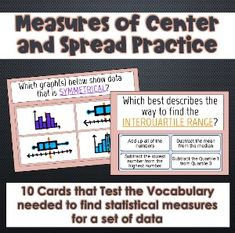 Measures of Center and Spread Practice Vocabulary Practice, First Step, Student, Education, Learning, Cards, Studying, Teaching, College Students