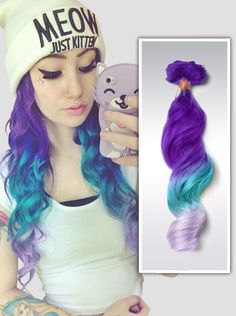 #top8 purple blue ombre hairstyles wavy hair 2015