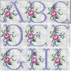 So pretty ~ cross stitch monogram alphabet with roses. - - So pretty ~ cross stitch monogram alphabet with roses. Cross Stitch Alphabet Patterns, Cross Stitch Letters, Cross Stitch Rose, Cross Stitch Flowers, Cross Stitch Charts, Cross Stitch Designs, Stitch Patterns, Bead Patterns, Cross Stitching