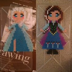 Elsa and Anna - Frozen perler beads by alchemic_artist_cosplay