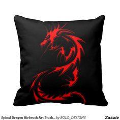 Spinal Dragon Airbrush Art Plush Throw Pillow