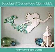 DIY Seaglass and Cedar Mermaid Art for Bathroom or Coastal Decor Sea Glass Crafts, Sea Glass Art, Seashell Crafts, Beach Crafts, Diy Crafts, Decor Crafts, Fused Glass, Mermaid Wall Decor, Mermaid Room