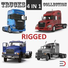 3D Rigged Trucks Collection