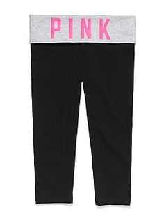 Cute to the core, with a slim cropped fit. The Yoga Crop Legging from Victoria's Secret PINK is the perfect pant for working out, and wearing out. Extra-comfy with a fold-over waist and cute cropped leg, it's a stretchy essential to wear, pair and love.