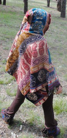 Yak Wool Hooded Poncho - Shawl Elven Hood Hippie Travel Gypsy Elf Fairy Pixie Bohemian by UbuntuThreads on Etsy Poncho Shawl, Hooded Poncho, Wool Poncho, Vera Bradley Backpack, Pixie, Elf, Gypsy, Hoods, Fairy