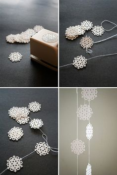 snowflake garland DIY tutorial