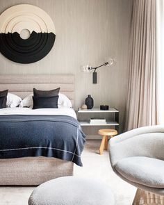 Blue accents in bedroom