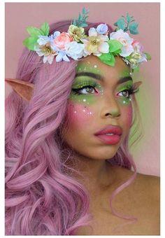 Fairy Halloween Makeup, Fairy Makeup, Halloween Makeup Looks, Mermaid Makeup, Halloween Kostüm, Fairy Fantasy Makeup, Fairy Costume Makeup, Costume Make Up, Costume Makeup Tutorial