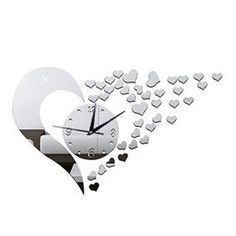 Heart shaped wall décor is trendy, adorable and  charming. You can get all kinds of  unique home décor ideas from looking at different pieces of heart wall art décor  and come up with something interesting and cute of your own. I love combining heart wall clocks with  abstract metal shaped wall art along with some heart shaped wall décor accents  for my master bedroom, living room or girls room.      Happy Hours - Creative Wall Clocks / Home DIY Decoration Watch / Heart S
