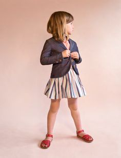 No Added Sugar cool curved girlswear blazer jacket and stripes cotton skirt for summer 2014