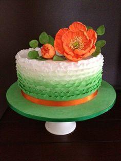 Green ombre orange floral
